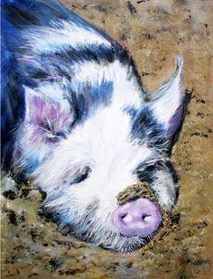 "Saatchi Art Artist Sheila Moya Harris; Painting, ""Pip The Pig"" #art"