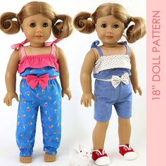 18 inch doll clothing romper sewing pattern  The Starling Romper an easy to make romper pattern for 18 inch (48cm) dolls such as American