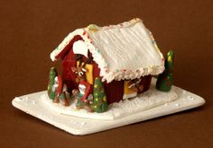 OOAK Miniature Reindeer Barn Gingerbread House For Your Dollhouse by DinkyWorld at Etsy