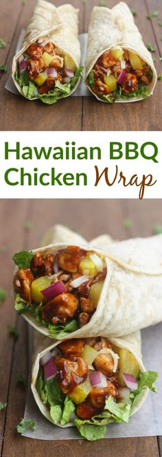 Nothing better than a little Hawaiian twist to BBQ chicken, layered inside a tasty wrap! These Hawaiian BBQ Chicken Wraps are EASY, healthy and delicious.