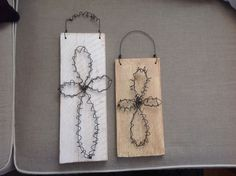 Wooden wire cross signs