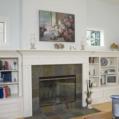 """Another """"almost exactly what I'm thinking"""" mantel height built-in I'd like. Would like a bit deeper. Oh. And  a couple cabinets. Gotta hide the components. 