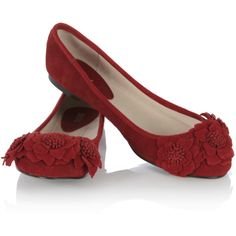 Burgundy Afriene Flower Leather Ballerina Shoe ($15) ❤ liked on Polyvore featuring shoes, flats, zapatos, red, sapatos, women, leather ballet flats, leather flats, ballet pumps and red flat shoes
