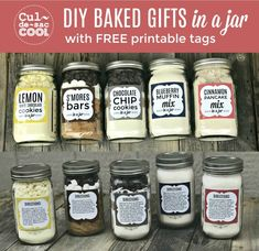 diy Food gifts - 5 DIY Baked Gifts in a Jar with FREE Printable Recipe Tags — Part 2 Mélanges Pour Cookies, Kit Cookies, Jar Food Gifts, Gift Jars, Diy Gifts Jar, Gifts In Mason Jars, Best Food Gifts, Mason Jar Mixes, Mason Jar Recipes