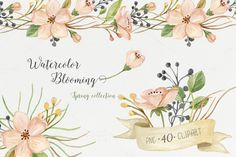 Watercolor blooming. Spring set by NataliVA on @creativemarket