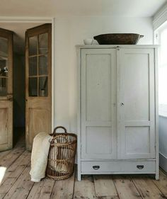 Wooden Armoire / Cabinet Wicker Basket Wooden French Doors Entryway Storage for Mudroom Modern Farmhouse Vintage Antique Furniture - March 09 2019 at Old French Doors, Vintage Armoire, Wide Plank Flooring, Plank Walls, Laminate Flooring, Home And Deco, Design Case, Tall Cabinet Storage, Entryway Storage