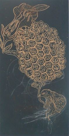 Woodblock for 'Untitled (Honeycomb)'