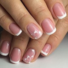 - Super Stylish Wedding Floral Nail Art Designs - - Super Stylish Wedding Floral Nail Art Designs - Beautiful way to create the perfect french manicure! By: Hannah Rox It latest and hottest french nail art designs ideas 2019 13 French Nails, French Manicure With Design, French Pedicure, French Manicure Nails, Nude Nails, My Nails, Coffin Nails, Elegant Bridal Nails, Nagellack Trends