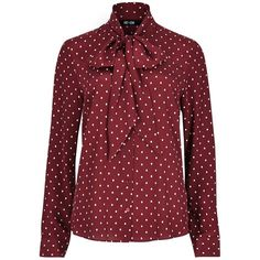 Printed Pussybow Silk Blouse ($215) ❤ liked on Polyvore featuring tops, blouses, silk top, red blouse, bow neck blouse, red top and pussy bow blouses