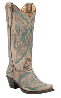 Corral Women's Distressed Taupe with Fancy Turquoise Stitch Snip Toe Western Boots | Cavender's