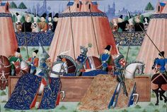 Detail of a miniature of the jousts of Inglevert. Jean Froissart. Chroniques. c.1470 and 1472.