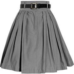 Preen Line Bianca high-waisted stretch-cotton skirt ($185) ❤ liked on Polyvore featuring skirts, mini skirts, bottoms, saias, faldas, women, grey skirt, green high waisted skirt, green skirt and pleated skirts