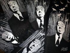 hand-printed Alfred Hitchcock Scarves by Albright Illustration on Etsy
