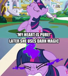 It's pure alright. I don't understand how people could approve of Alicorn Twilight with this in mind? Twilight's heart is pure? My Little Pony List, My Little Pony Twilight, My Little Pony Comic, My Little Pony Drawing, My Little Pony Pictures, My Little Pony Friendship, Mlp Twilight, Twilight Sparkle, Funny Images