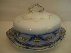 Antique Flow Blue Butter Dish Grindley | eBay