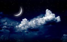 Beautiful Moon Night Clouds Wallpaper