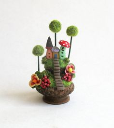 Miniature Fairy House Colony in Acorn Cap by C. Rohal