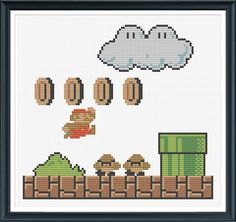 Retro Super Mario Cross Stitch Pattern Instant by tinymodernist