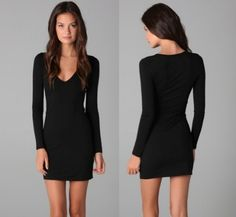 Simple long sleeve little black dress. Need this to add to my black dress collection!