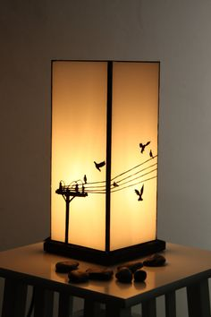 White Glass 'Bird on a Wire' Lamp by AlphaCraftsDerry on Etsy