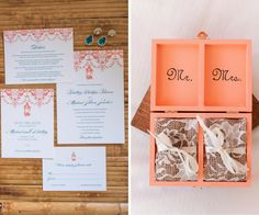 Coral and Blue St. Petersburg Wedding Invitation Stationary and Coral Mr and Mrs Wooden Wedding Band Boxes   St. Petersburg Wedding Photographers Caroline and Evan Photography