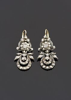 1950s portuguese silver and gold diamond earrings