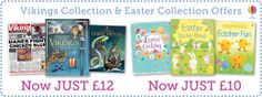 Extra savings to be made on the Viking and Easter collections.  http://org.usbornebooksathome.co.uk/jenniferslittlebookworms/catalogue/catalogue.aspx
