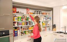 Tambour Door used in a Benchtop Pantry It's a roller door pantry!!! Best font ever. Hello future kitchen.