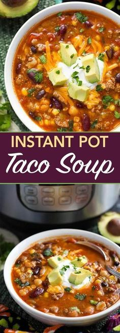 Instant Pot Taco Soup is a delicious and hearty soup made with beans corn ground beef or turkey and lots of other good stuff. Instant Pot Taco Soup is a delicious and hearty soup made with beans corn ground beef or turkey and lots of other good stuff. Crock Pot Recipes, Slow Cooker Recipes, Beef Recipes, Healthy Recipes, Instapot Soup Recipes, Taco Soup Recipes, Recipies, Healthy Taco Soup, Easy Taco Soup