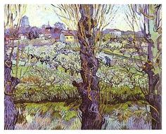 Vincent Van Gogh (1853-1890)  View of Arles (Orchard in Bloom with Poplars) (oil on canvas, 1890)