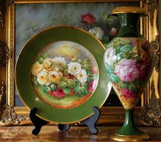 """""""Dubois"""" signed 20.5"""" tall huge hand painted Limoges vase with the roses, bolted base, burnished gold rim, 1920s-1930s"""
