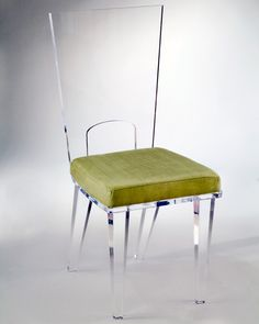 Clear Acrylic Chair with Avocado Green Seat Cover from Muniz Acrylic in Miami, FL - These acrylic chairs come in a variety of colors and available now at Muniz Plastics.