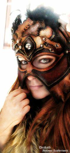 female shaman leather mask.   Follow us! - http://starshipseraphm.blogspot.com/p/home.html