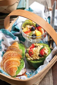 Serve guests a casual lunch in a basket.  An Everyday Bouquet Party - Celebrate