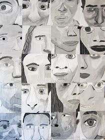 Upper School Art (Grades 7-12): Grade 8 monochromatic cropped self portraits- photo of only a part of the face to draw from.
