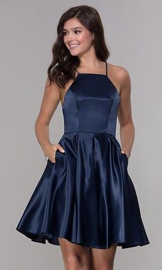 Satin homecoming dress - Prom Dresses Elegant, Homecoming Short Satin Party Dress with Pockets – Satin homecoming dress Hoco Dresses, Sexy Dresses, Evening Dresses, Fashion Dresses, Summer Dresses, Wedding Dresses, Party Dresses, Elegant Dresses, Prom Dress