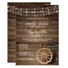 Rustic Wood Barrel Wedding Card - wedding invitations cards custom invitation card design marriage party