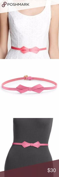 """Lilly Pulitzer Bow Tie Belt Pink XS/S Excellent condition. (XS/S - 34""""). Grosgrain/vinyl. Spot Clean Only. Imported. The best things in life are tied with a bow (hmm...we're really just talking about presents). Width is about 1"""". This grosgrain textured bow tie belt will make you look like the prettiest present anyone could ever ask for! Buckle it in the back and wear this skinny belt with bow at the front for a classic look. Lilly Pulitzer Accessories Belts"""