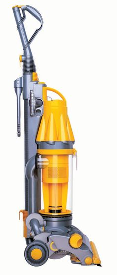 Quintessential Dyson Vacuum cleaner, sleek modern design, clear bodied dust receptacle, and funnel shaped motor for cyclonic seperation.