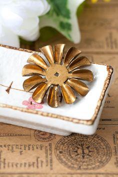 Vintage Large Aged Brass Stacking Flower Beads by DeStashAttic