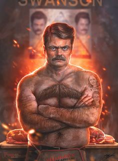 Ron Swanson. you're such a meaty, manly man. @awallfisch check it out! ;)