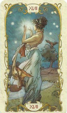 Mucha Tarot: A Estrela Art Nouveau, Alphonse Mucha Art, Star Tarot, Linestrider Tarot, Art Carte, Inspiration Art, Tarot Major Arcana, Tarot Readers, Tarot Spreads