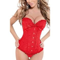 Yoins Red Sweetheart Bust Line Corset ($19) ❤ liked on Polyvore featuring intimates, shapewear and red