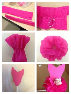 Cupcake tutu topper, crepe paper tutu tutorial, tutu cupcake, ballerina birthday, ballerina cupcake topper; 2 pieces of crepe paper 8 inches long, sew, pull thread to gather, tie knot, fluff, glue to bodice