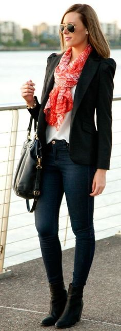 Shop this look on Lookastic:  https://lookastic.com/women/looks/blazer-sleeveless-top-skinny-jeans-ankle-boots-tote-bag-scarf-sunglasses/8796  — Gold Sunglasses  — Red Scarf  — Black Blazer  — White Silk Sleeveless Top  — Black Leather Tote Bag  — Navy Skinny Jeans  — Black Leather Ankle Boots