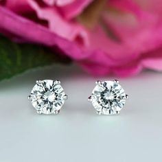 Ringjewels Solitaire Stud Earrings 4 Prongs 14K White Gold Plated 5mm Round Cut Cubic Zirconia Diamond
