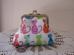 Small  Kisslock  Snap Coin Purse Colorful by Antiquebasketlady, $15.99