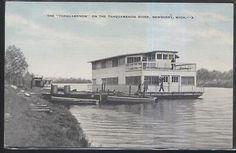Postcard NEWBERRY Michigan/MI  Tahquamenon Tourist House Boat view 1930's