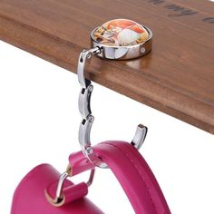 JENOR Portable Handbag Alloy Hook Rhinestone Round Folding Purse Holder Table Hanger
