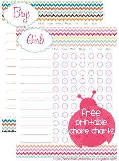 Free Printable Chore Charts